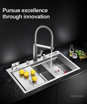 Asras 8650T SUS304 handmade kitchen sink multipurpose fine brushed with drainer and kitchen tap free shipping DHL 6es7216 2ad23 0xb8 6es7 216 2ad23 0xb8 with free dhl