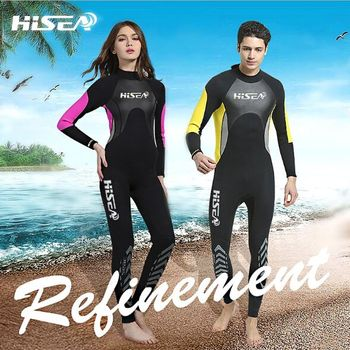 Hisea 3mm couple diving suit long-sleeved surf clothing outdoor warm sun protection clothing drifting snorkeling suit