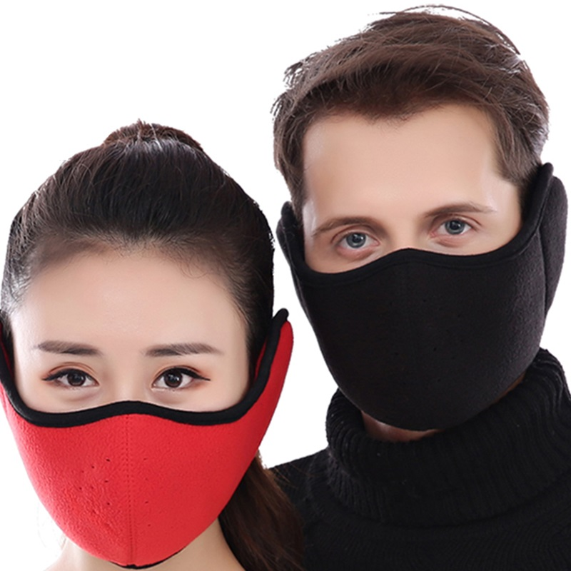Men Women Cycling Face Mask Fleece Breathable Winter Outdoor Sports Ear Protective Half Face Mouth Mask Warm Riding Bicycle Mask