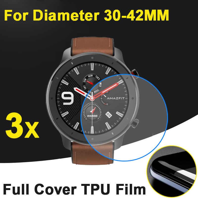 3 adet/grup yumuşak LCD evrensel çap 30MM 31MM 32MM 34MM 35MM 36MM 37MM 38MM 39MM yuvarlak akıllı saat ekran koruyucu kapak filmi