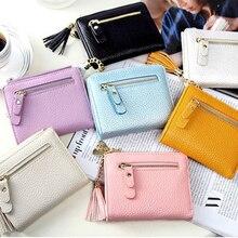 Fashion New Women Wallet Solid Color Tassel Zipper Pendant Short Creative Mini Cosmetics Card Storage Bag