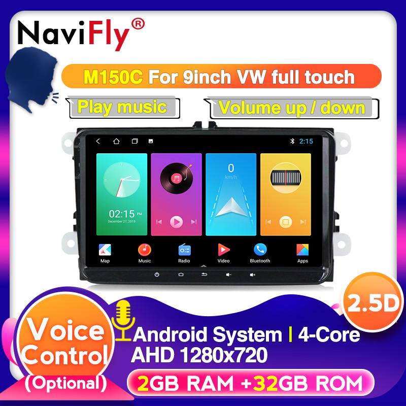 NaviFly Android 9 HD 9inch screen For Skoda VW <font><b>Passat</b></font> <font><b>B6</b></font> Polo Golf 4 5 Touran Seat Car Multimedia Audio radio gps player image
