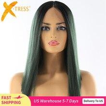 Yaki prosto koronki przodu syntetyczne peruki do włosów wysokiej temperatury włókna X TRESS Ombre kolor zielony krótki tępy koronkowa peruka środkowa część
