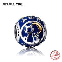 925 sterling silver Fit Original Pandora Bracelet Antique cat moon star heart Enamel Charms Beads Jewelry Making for women gift(China)
