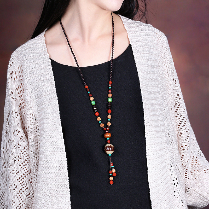 Ethnic style Bodhi Long Necklace Colorful Vintage Jewelry Women Sweater Chain Hanging Ornaments Chinese Decoration Chains