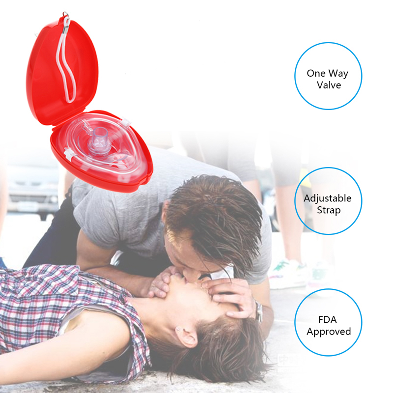 CPR Resuscitator Rescue Emergency First Aid Masks CPR Breathing Mask Mouth Breath One-way Valve Tools
