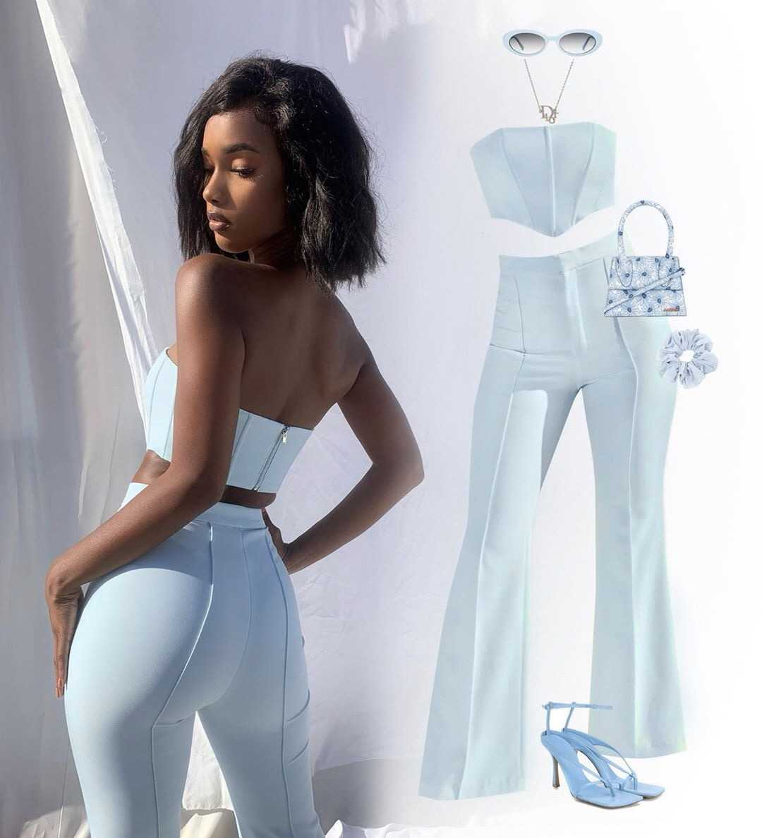 2 Pcs Women Solid Color Fishbone Tube Top Pants Set Sexy Outfits Boned Strapless Crop Top + High Waist Flared Pants 2021 Trendy