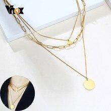 Vnox-collares rectangulares de Triple capa para mujer, gargantilla de cadena de eslabones, moneda, colgante, elegante, para fiesta, joyería de boda