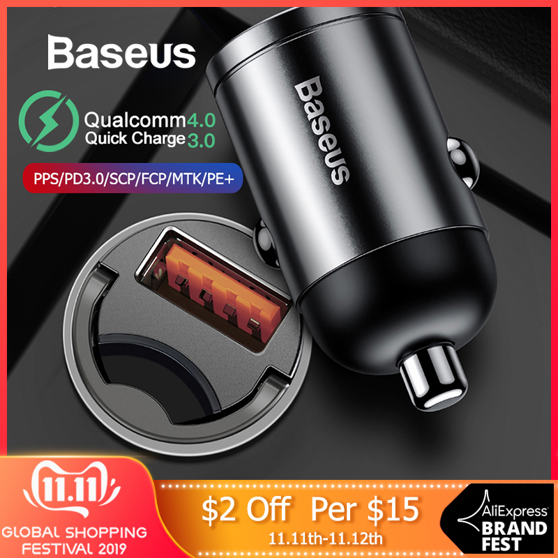 Baseus 30W Quick Car Charger QC4.0 PPS Fast Charging For Huawei Mate 20 Pro Samsung Phone Auto USB Type-C Socket Adapter Charge