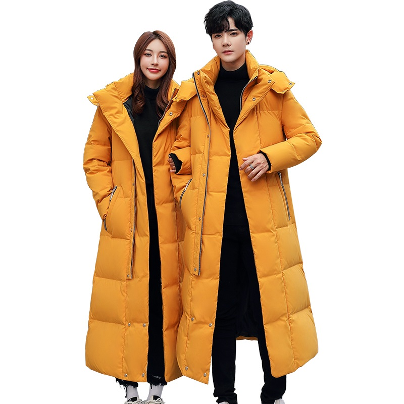 2019 New Winter Thick Men Women Down Jacket Fashion Hooded X-Long Warm Duck Down Coat High Quality Brand Clothing Plus Size 5XL(China)