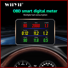 GEYIREN Newest P16 OBD Head Up Display speedmeter Windscreen Projector OBD II EUOBD smart digital Computer LED Display universal