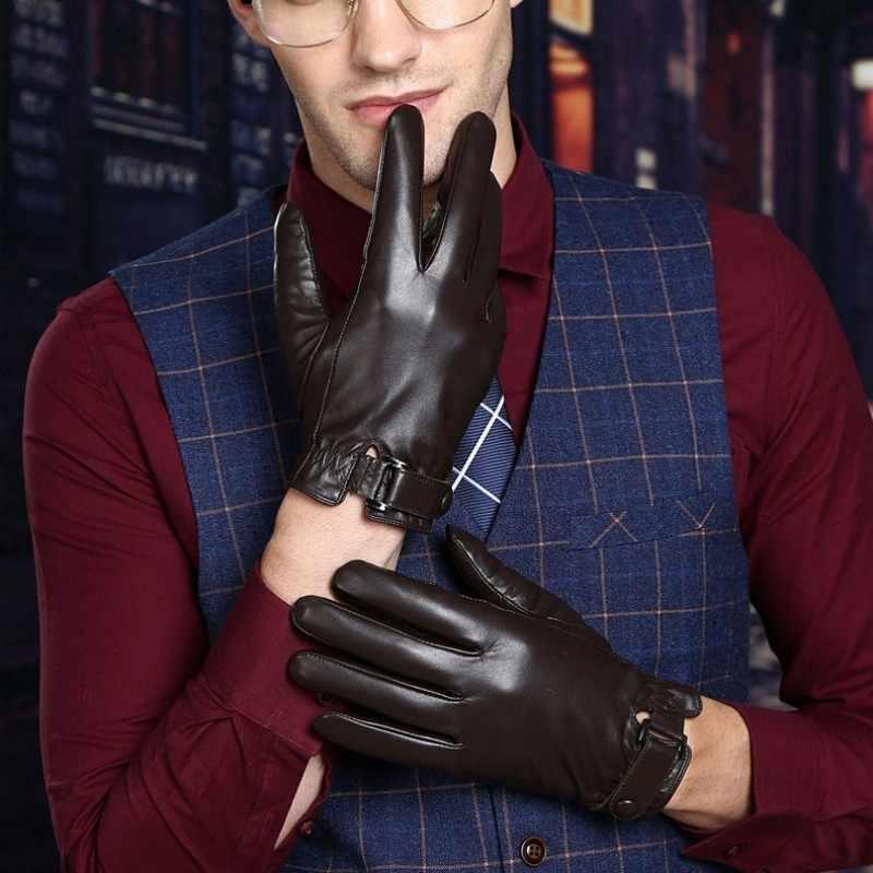 Hohe Qualität Luxus Männlichen Handschuhe Echtes Leder Mann Kurze Handschuhe Fleece Futter Feste Motorrad Guantes Hombre Invierno