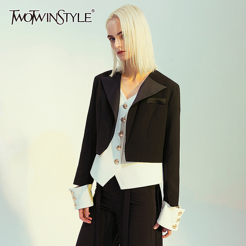 TWOTWINSTYLE Vintage Patchwork Women Blazer Notched Long Sleeve Tunic Slim Hit Color Suit Female Fashion Clothes 2020 Spring New