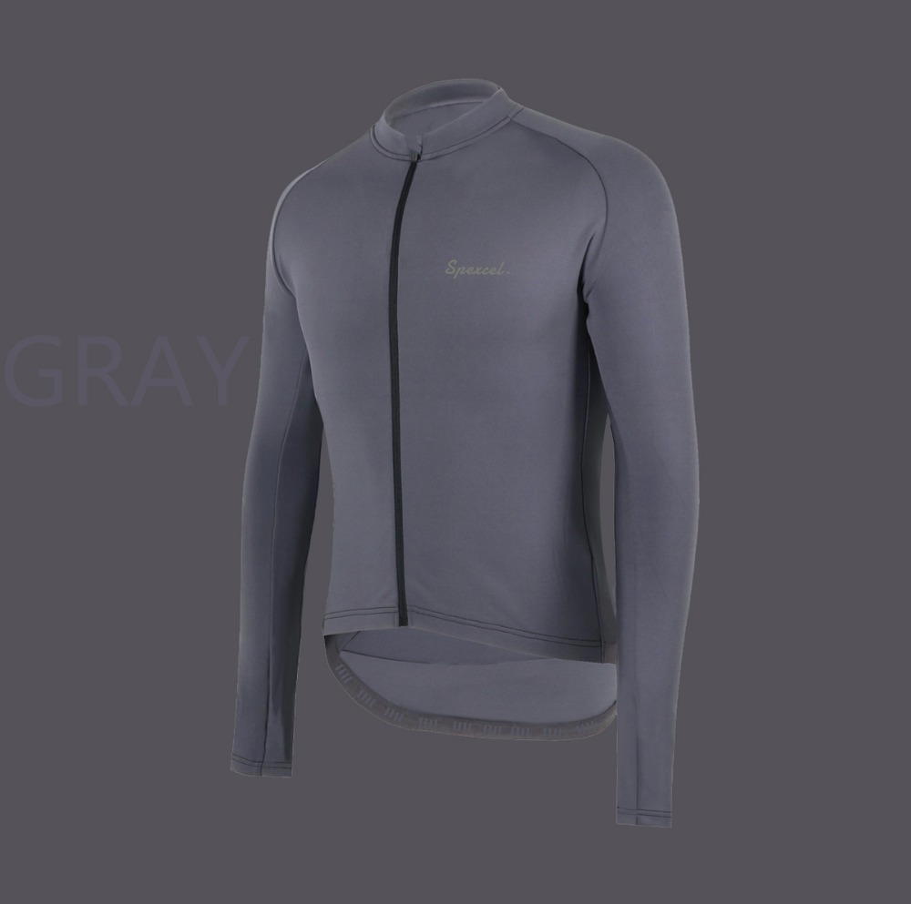 SPEXCEL Cool gray pro team race fit winter spring thermal fleece cycling jersey bicycle clothes long sleeve cycling jersey