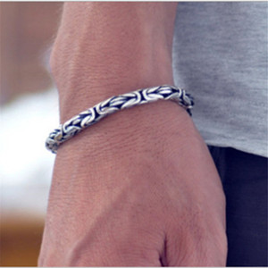Image 5 - Real 925 Sterling Silver color Men Bracelet Thick Safe Pattern Vintage Punk Rock Style Bangle Men Fine Jewelry Fathers Day Gift