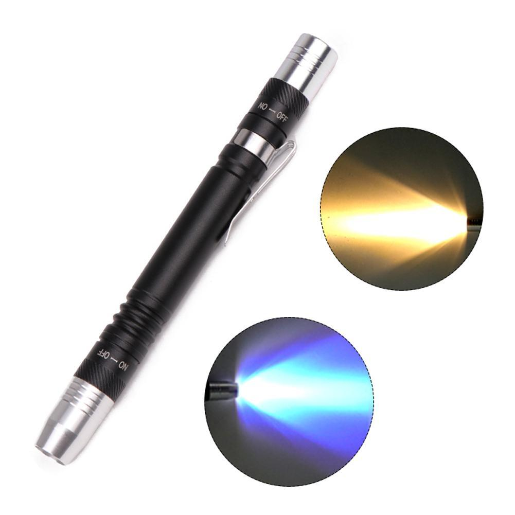 Flashlight Waterproof XPE 365 Pocket Clip Jade Jewelry Gem Testing Torch 1 Mode Identification Flashlight