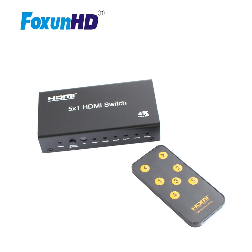 5 Input 1 Output HDMI Switcher 3D 4K2K@30Hz With CEC Remote Control SW04 HDMI Switch 5x1