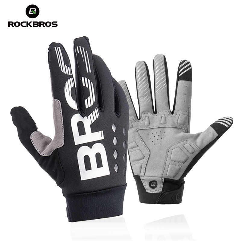 ROCKBROS Зимние перчатки для велоспорта, ветрозащитные теплые флисовые перчатки для мужчин и женщин, мотоциклетные Зимние перчатки для катания на лыжах, спортивные велосипедные перчатки