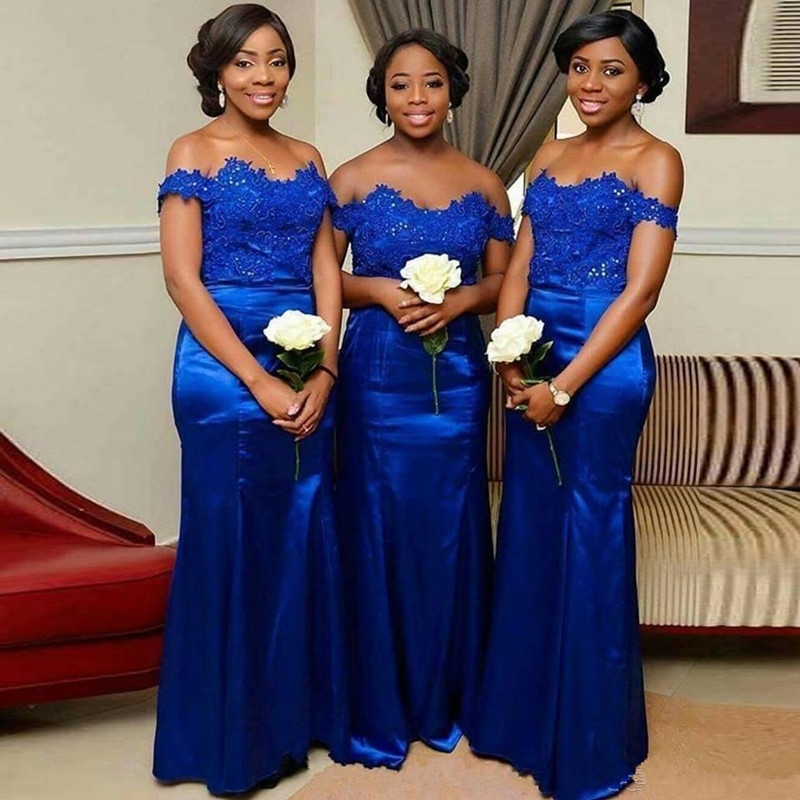 Royal Blue Long Bridesmaid Dresses Off The Shoulder Mermaid Style Lace Appliques Beading Stretch Satin African Robe De Soiree