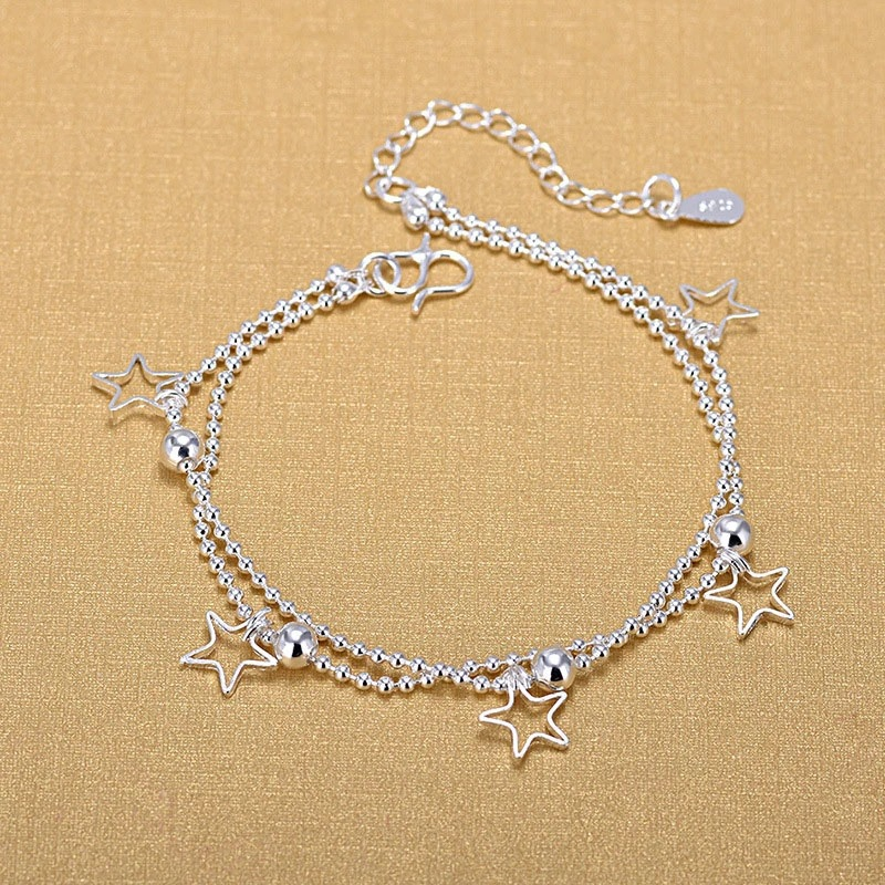 925 Sterling Silver Double Beads Chain Bracelets 925 Fashion Star Bracelets Fine Fashion Bracelet Jewelry For Woman Gift