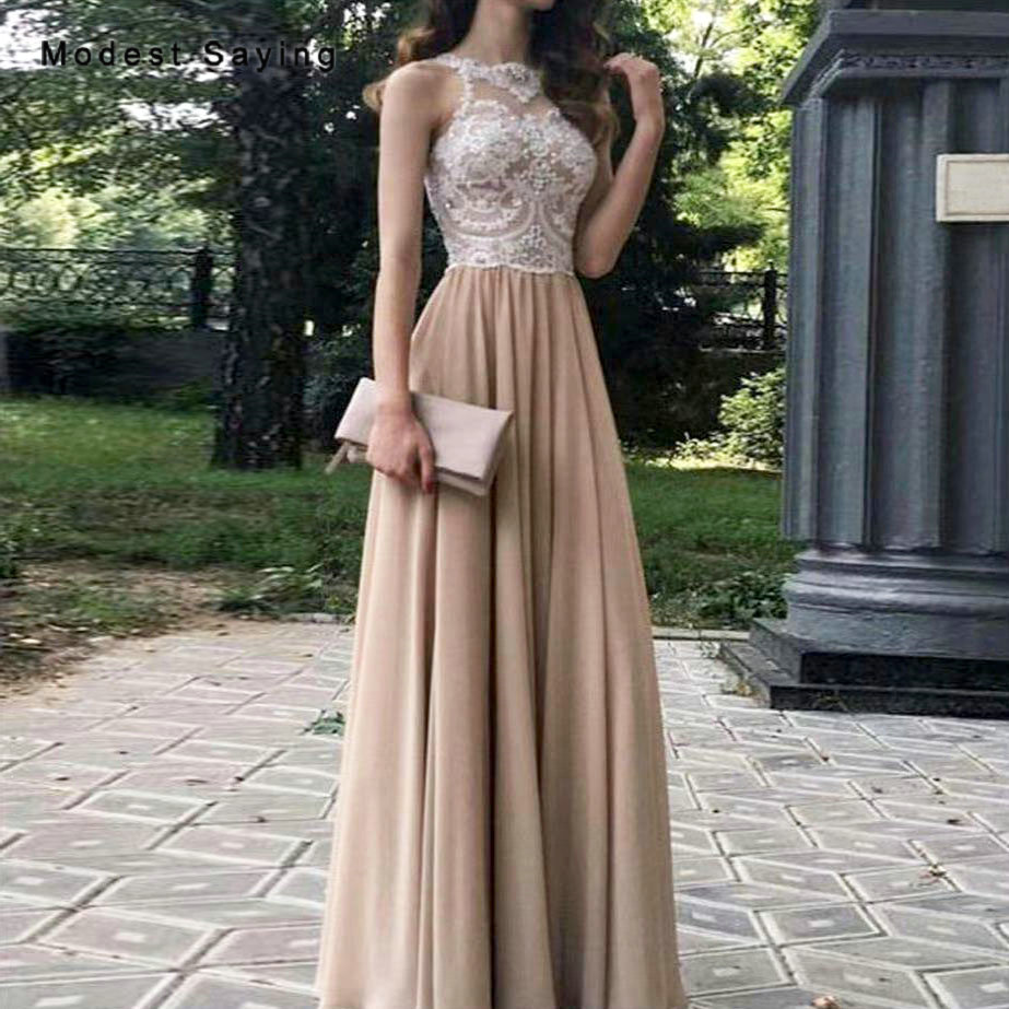 Brown A-Line Beaded Lace Bridesmaid Dress 2019 Zipper Back Formal Girls Illusion Maid Of Honor Dresses Chiffon Party Prom Gowns