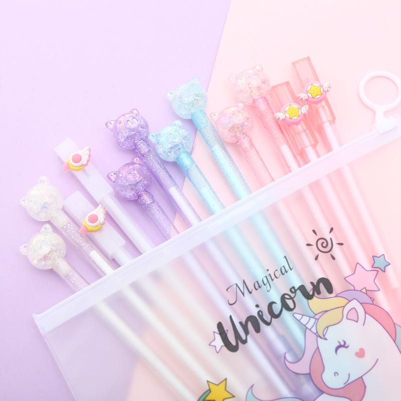 Mixing 12pcs Set Gel Pen Kawaii Cartoon Creative Cute Cool Flamingo Signature Ink Pens Office Stationary Supply with Pencil Bag