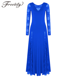 Image 1 - Sexy lace splice ballroom dance competition dresses for woman long sleeves waltz tango dance dress standard ballroom dress