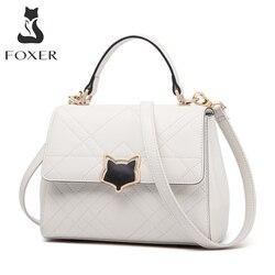 FOXER femmes rabat sac à main en cuir fendu dames Commute élégant sac à main grande capacité décontracté sac à bandoulière pour femme