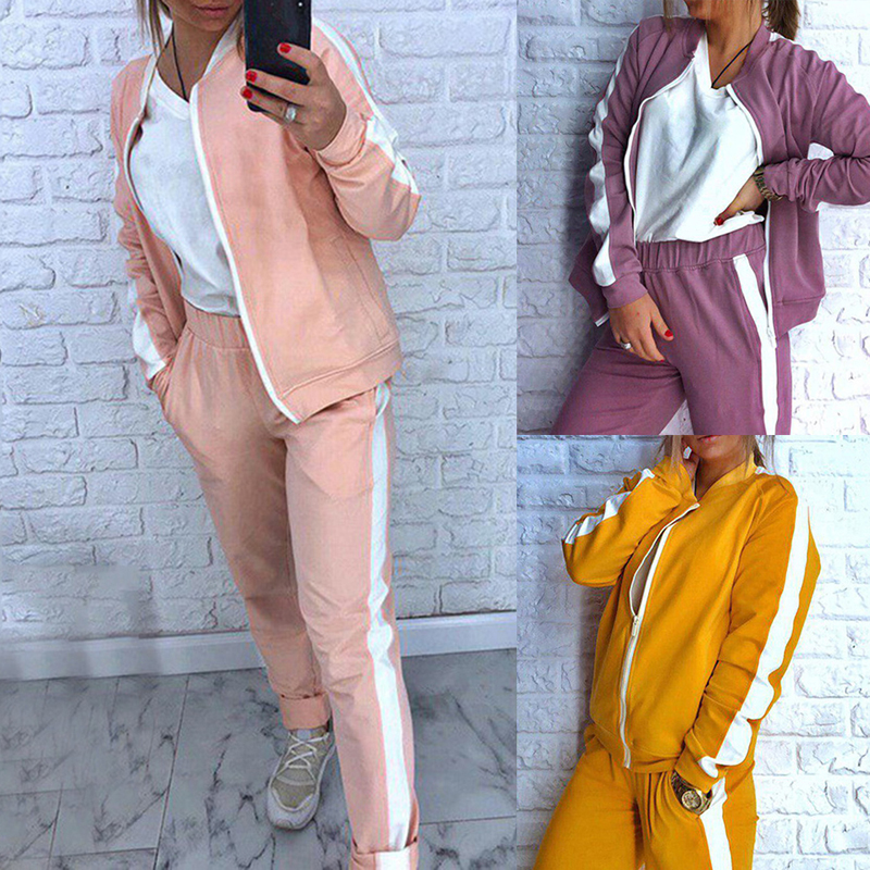 2019 Autumn Women's Tracksuit Sport Suit Casual Female 2 Piece Set Sweatshirts Pants Yoga Set Zipper Gym Clothing Running Suit