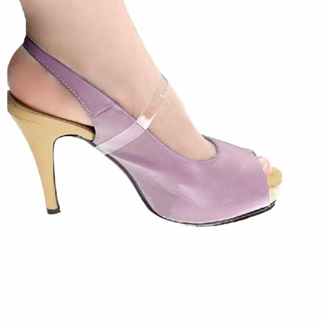 1 par Cadarços Elásticos Invisíveis Mulheres Sapatos Straps Cadarço Cadarços de Sapato De Salto Alto Transparente de Silicone Macio Acessório T4