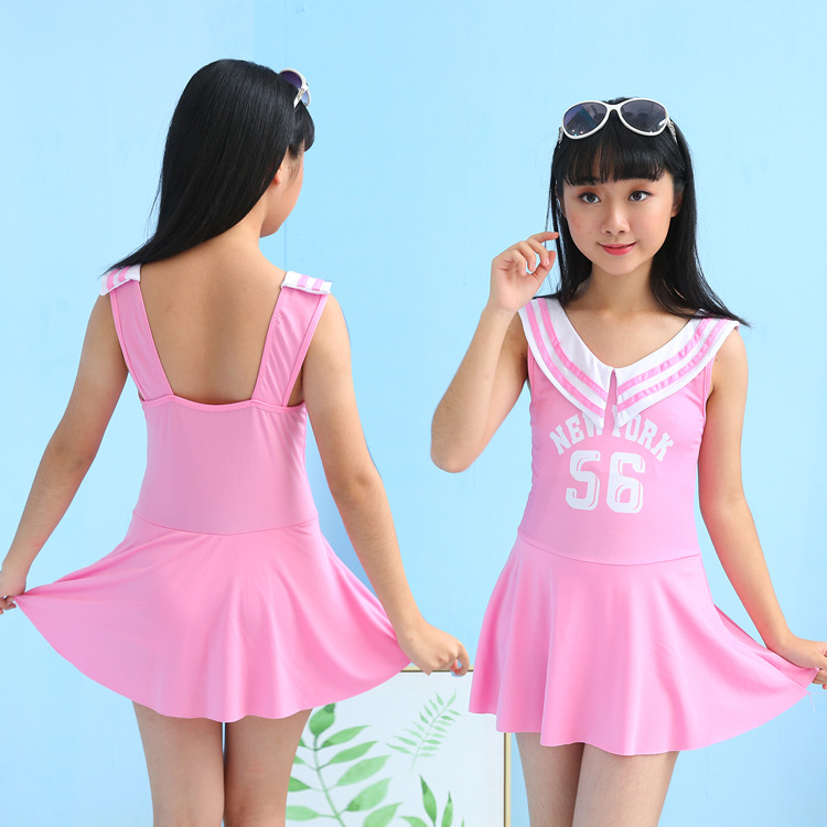 2019 New Style Sports One-piece Swimsuit Children's GIRL'S Spa Pure Cute Princess STUDENT'S Dress Swimdress