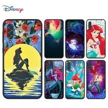 Disney Cartoon Animation The Little Mermaid for Samsung Note 8 9 10 20 Ultra Plus Pro 5G M01 M02 M60S M62 F62 Black Phone Case