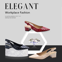 MaxMuxun Women Sexy Slingback Pointed Toe Pumps Block Heel Croco Effect Summer Party Dress Shoes