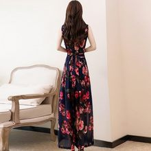 Fashion Sleeveless Print Chiffon Jumpsuit Wide Leg Pants Women 2020 Summer High Waist Office Rompers Plus Size 4XL Boho Overalls(China)