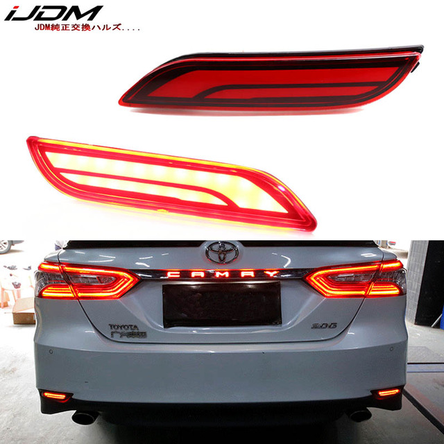iJDM 3D Optic LED Bumper Reflector Lights For 2018 up Toyota Camry, Function as Tail, Brake Rear Fog Lamps and Turn Signal Light