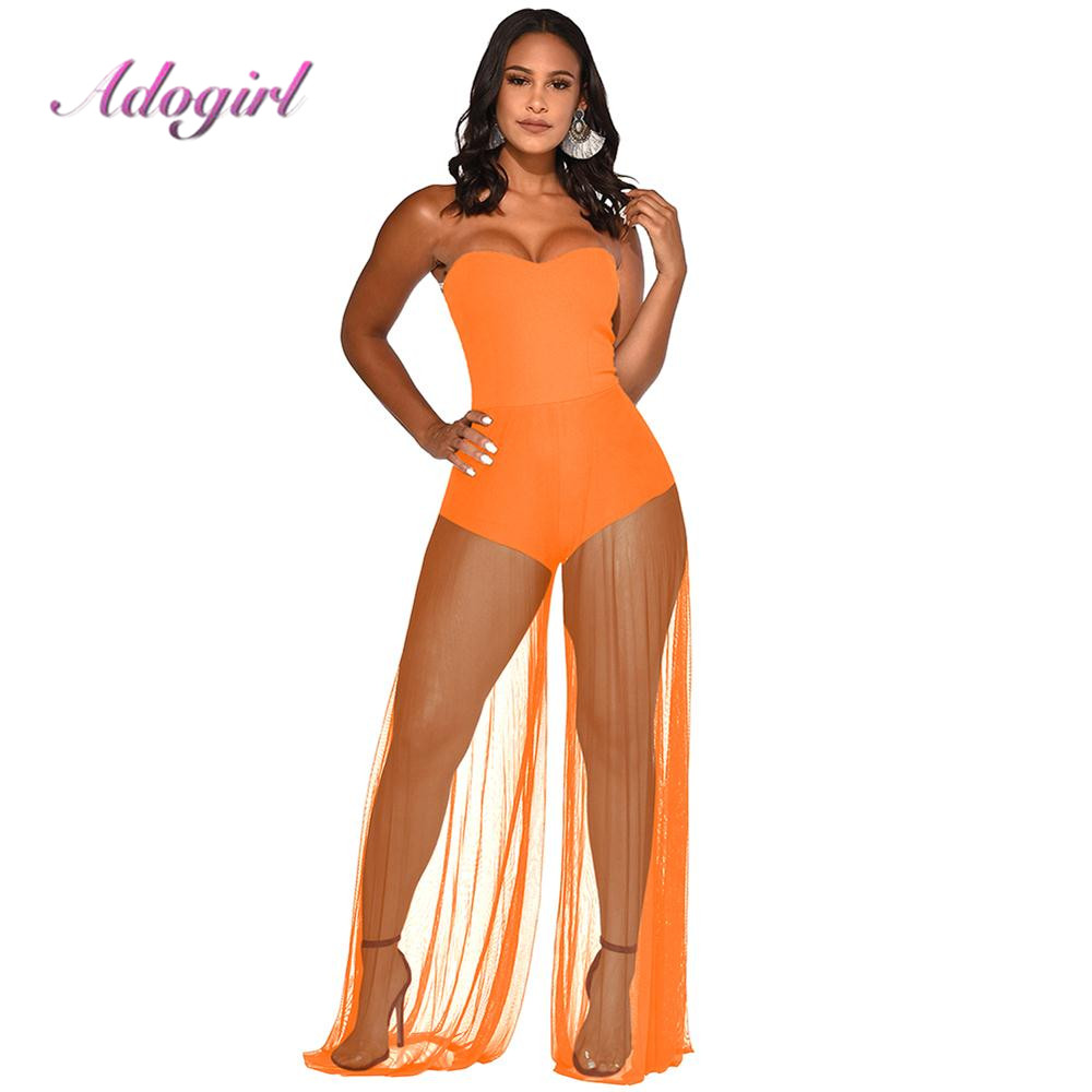 Women Summer Strapless Mesh Sheer   Jumpsuit   Casual Female Overalls Sexy Patchwork Backless Bodycon Party Club Playsuits Rompers