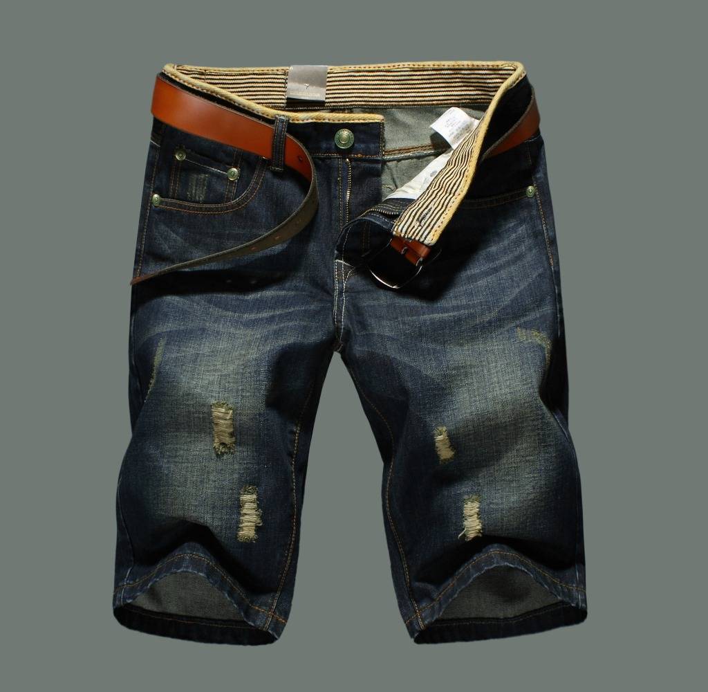 Foreign Trade Hot Selling Summer Wear New Style Denim Shorts Men's Trousers Retro Slim Fit Medium Waist Casual Short Jeans Whole