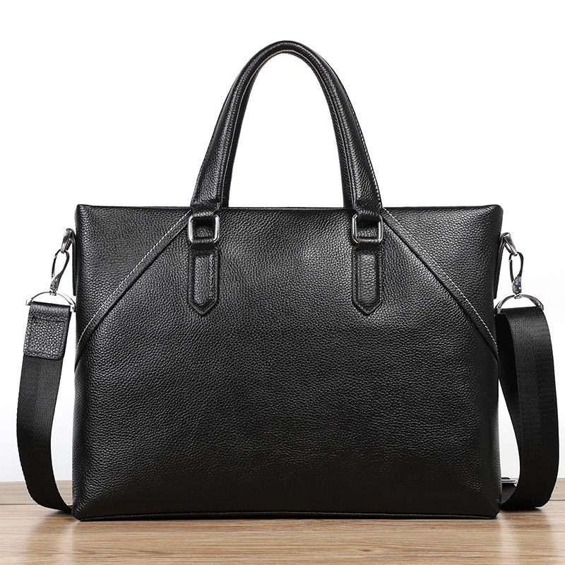 Men Briefcase New Soft Leather Handbags Men Simple Business Shoulder Messenger Bag Luxury Leather Laptop 14 Inch Bag Briefcase