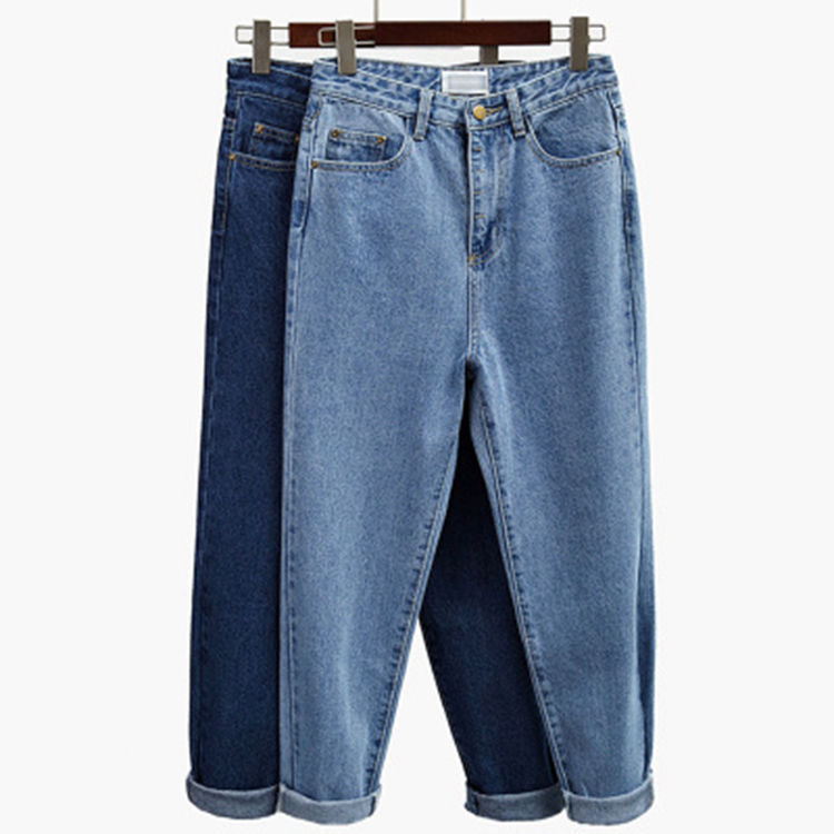 Women High Waist Jeans Fashion Loose Skinny Directly Cuffless Trousers Wide Denim Skinny Pants