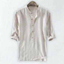 2020 Мужчины% 27 Рубашка Камиза Трусы Дышащий Однотонный Однотонный Половина Рукав Ретро Свободный Повседневный Хлопок И Лен Рубашка Мужчины Сорочка Homme