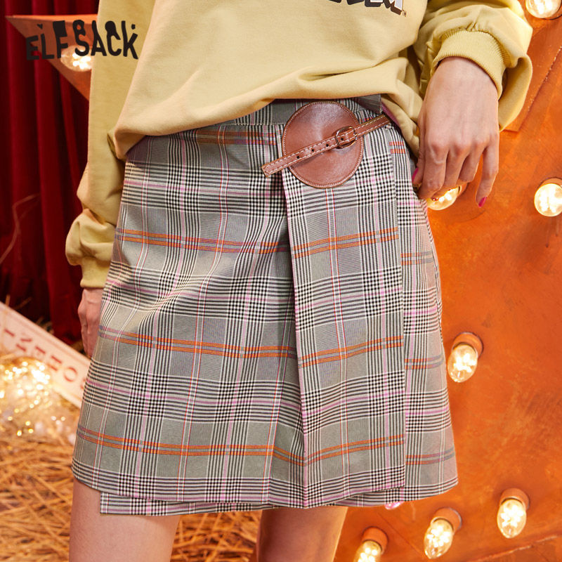 ELFSACK Multicolor Plaid High Waist Vintage Preppy Skirt Women 2020 Winter New Irregular Punk Mini Skinny Female Basics Skirts