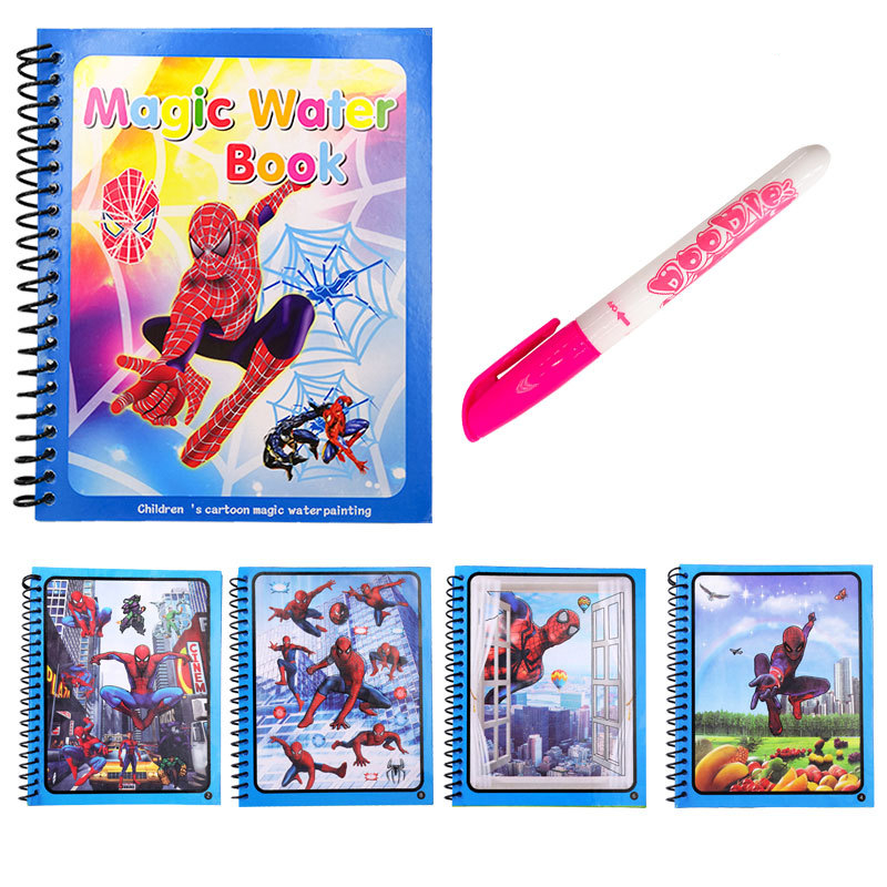 Diy Magic Water Book Super Heroes Spider Man Coloring Painting Drawing Board Magic Pen Toys For Children Girl Xmas Kids Gift