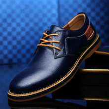 Merkmak Oxford Genuine Leather Dress Shoes Men Classic Lace-Up Winter Spring Off