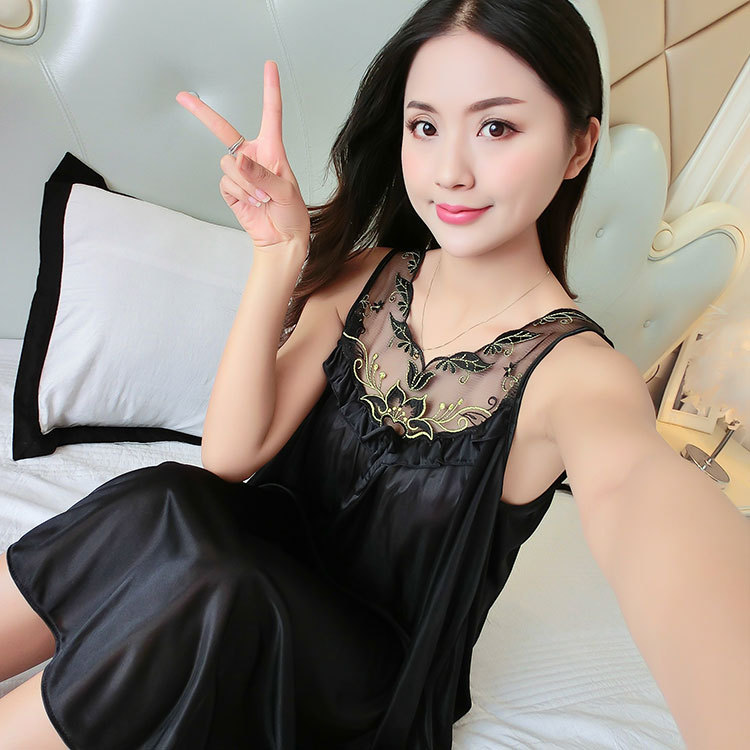 2018 Spring And Summer Sexy Ice Silk Camisole Thin WOMEN'S Nightgown Sexy Pajamas Women's Plus-sized Home Wear