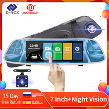 цена на E-ACE A04 Car DVR Camera Rearview Mirror Dash cam FHD 1080P 7.0 Inch Touch Video Recorder Auto Registrar With Rear View Camera