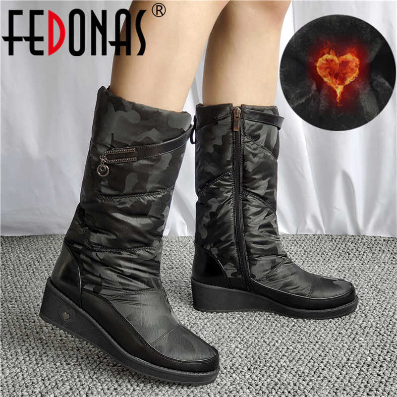 FEDONAS Thời Trang Thoải Mái Nữ Ủng Màu Pha Trộn Nêm Giày Cao Gót Giày Người Phụ Nữ Ấm Áp Mùa Thu Đông Giày Cao Dài Giày