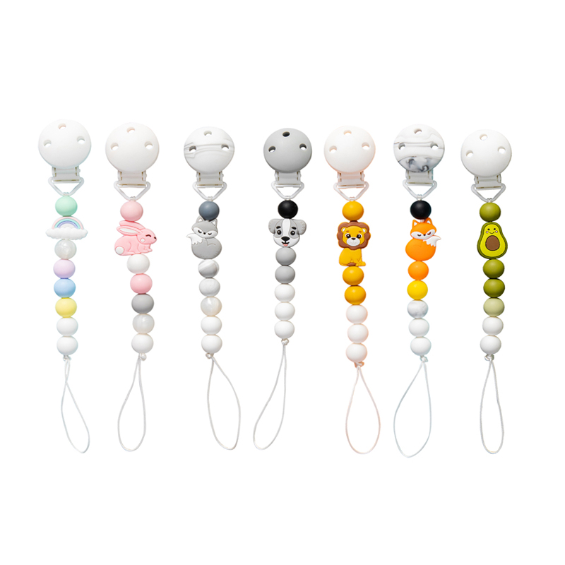 1pc Silicone Baby Pacifier Clips  Holder Chain Silicone Pacifier Chains Five Star Baby Teether Teething Chain Baby Gift Chain
