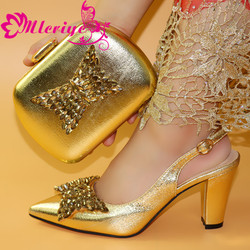 New Arrival gold Color African Matching Shoes and Bags Italian In Women Nigerian Party Shoe and Bag Sets Bag and Shoe Set Italy