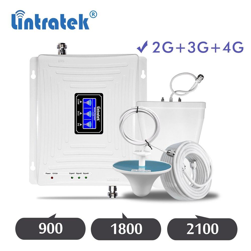 Lintratek 2G 3G 4G GSM 900mhz  DCS 1800mhz WCDMA 2100mhz Cellphone Repeater Cellular Signal Amplifier 900/1800/2100 Booster Set