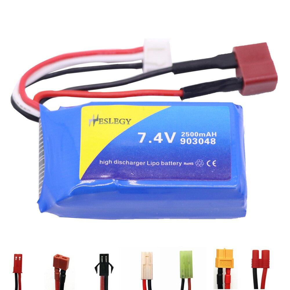 Аккумуляторная батарея Lipo 7,4 В 2500 мА · ч для WLtoys, батарея для WLtoys, батарея 903048, батарея для беспилотника, радиоуправляемой машины, лодки, запас...